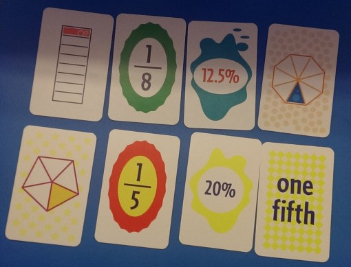 The cards show a variety of fractions expressed in different ways. You have to find two cards that express the same fraction.