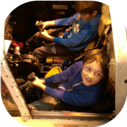 Sitting in the cockpit at RAF Cosford